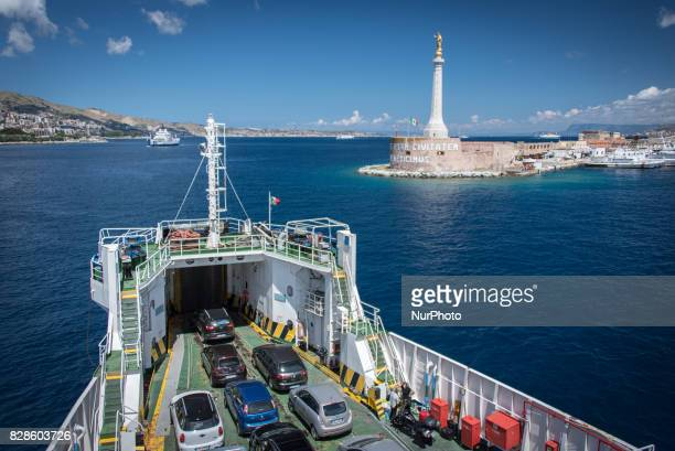 The Messina traghetto or ferry leaves the port on 20 August 2015