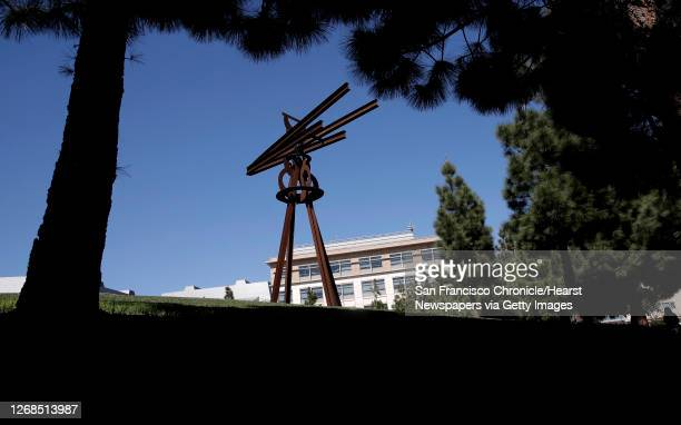 """The metal sculpture """"Dreamcatcher"""" by Mark di Suvero stands in the quad area of the UCSF Mission Bay campus, as seen on Wed. March 18 blocks away..."""