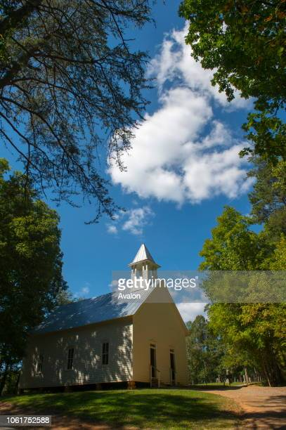 The Methodist church from the 1820s in Cades Cove Great Smoky Mountains National Park in Tennessee USA