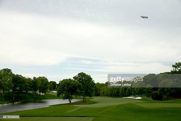 The MetLife Blimp soars over the golf course providing aerial TV coverage during the first round of the Wells Fargo Championship at Quail Hollow Club...