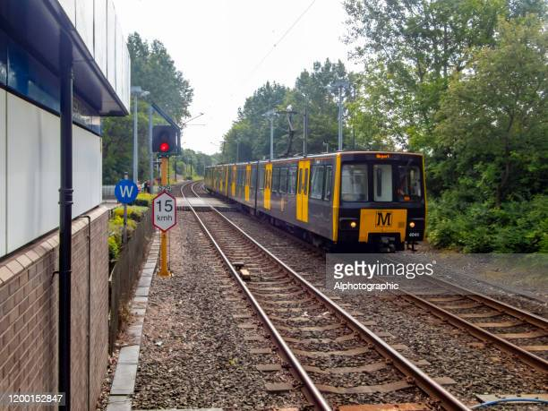 the metro at wansbeck road station - tyne and wear stock pictures, royalty-free photos & images