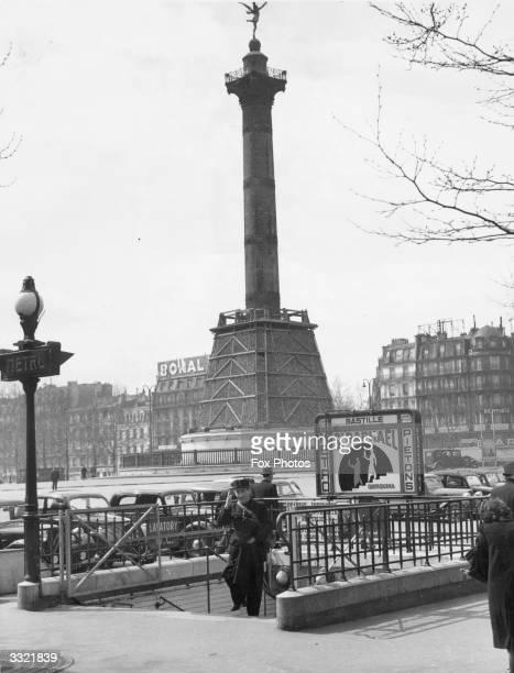 The Metro entrance at La Bastille Paris near the sandbagged base of the monument