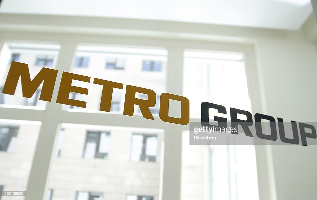 The Metro Group logo is seen at the company's offices in Berlin, Germany, on Wednesday, June 16, 2010. Metro AG, Germany's largest retailer, said its first-quarter results were 'very promising' and sales growth in Asia exceeded 10 percent. Photographer: Michele Tantussi/Bloomberg via Getty Images