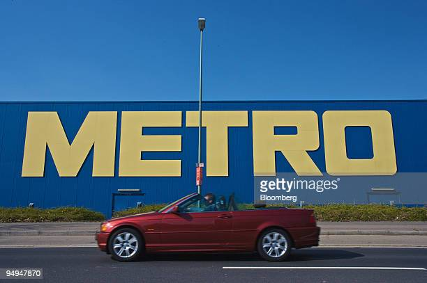 The Metro logo is seen on a Metro AG store in Neuss Germany on Saturday March 21 2009 Metro AG Germany's largest retailer reported an unexpected...