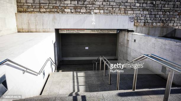 The metro station is closed as the workers participate in a 24 hour strike as they are demanding increasing in theirsalary in Athens Greece 28...