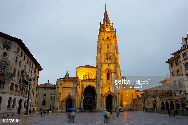 the metropolitan cathedral basilica of the holy saviour or cathedral of san salvador-oviedo-asturias-spain - oviedo stock pictures, royalty-free photos & images