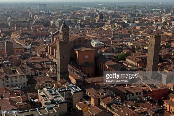 The Metropolitan Cathedral of San Pietro, la Cattedrale Metropolitana di San Pietro, is seen with the Torre Azzoguidi in front of its bell-tower on...