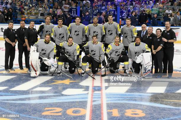 The Metropolitan Division team poses for a photo prior to the 2018 Honda NHL AllStar Game at Amalie Arena on January 28 2018 in Tampa Florida