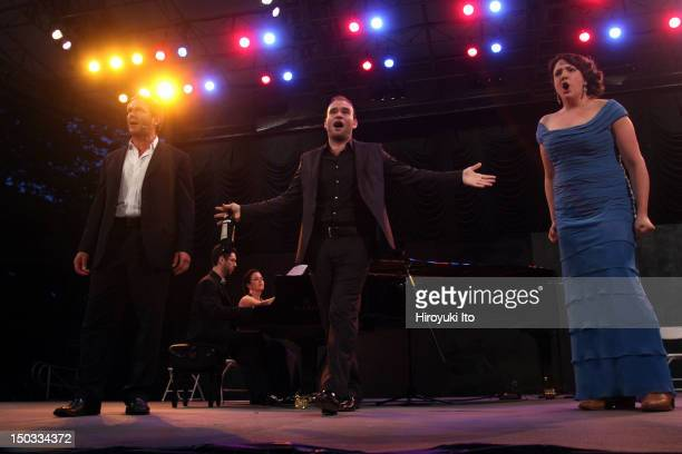 The Metropolitan Opera's Summer Recital Series at Central Park Summerstage on Monday night July 12 2010This imageFrom left Nathan Gunn Michael...