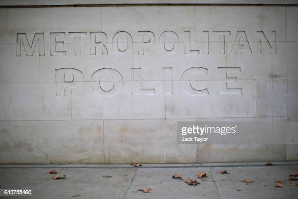 The Metropolitan Police logo is displayed on a wall outside the Curtis Green Building, the new home of the London force on February 22, 2017 in...