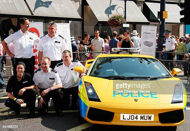 The Metropolitan Police show off their latest hot pursuit vehicle a Lamborghini at the Regent Street Garden Festival on September 4th 2005 in London...
