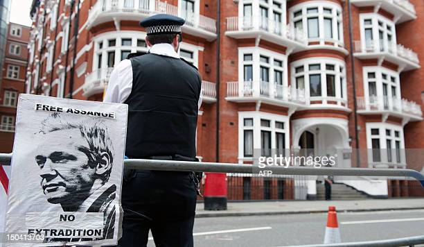 The Metropolitan Police stand outside the Ecuadorian Embassy in London on August 17 2012 after WikiLeaks founder Julian Assange was granted asylum...
