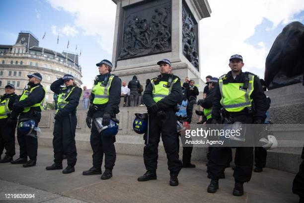 The Metropolitan Police takes security measures as Far-Right protesters clash with a group of Black Lives Matters protesters in Trafalgar Square in...