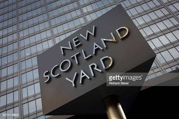 The Metropolitan Police's revolving sign their headquarters at New Scotland Yard in Westminster, London. Scotland Yard is a metonym for the...