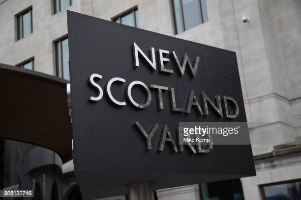 The Metropolitan Police's revolving sign their new headquarters at New Scotland Yard in Westminster London Scotland Yard is a metonym for the...