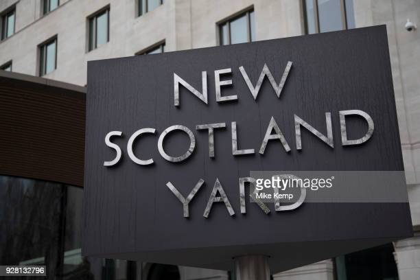 The Metropolitan Police's revolving sign their new headquarters at New Scotland Yard in Westminster, London. Scotland Yard is a metonym for the...
