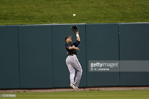 The Mets Carlos Beltran catches a deep fly ball during action between the New York Mets and the St Louis Cardinals at Busch Stadium in St Louis...