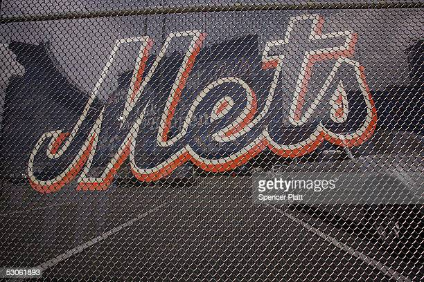 The Mets team logo is displayed at Shea Stadium home of the New York Mets baseball team June 13 2005 in the Queens borough of New York City In the...