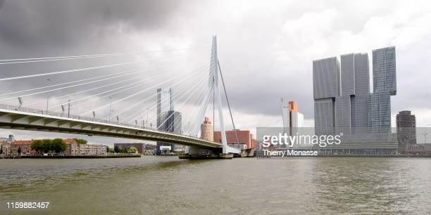 The Meuse River and the tallest building in the Netherlands the 'Maastoren' designed by Dam Partners Architecten and Odile Decq Benoit Cornette it...