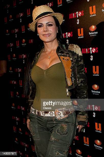"""The mexican actress Maribel Guardia poses during the presentation of the tv serie """"Adictos 3"""" at the Cinepolis Carso on April 17 2012 in Mexico City..."""