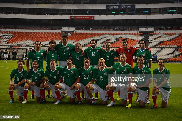 The Mexican Allstars pose for a team photo ahead of an exhibition match between FIFA Legends and Mexican Allstars to celebrate the 50th anniversary...