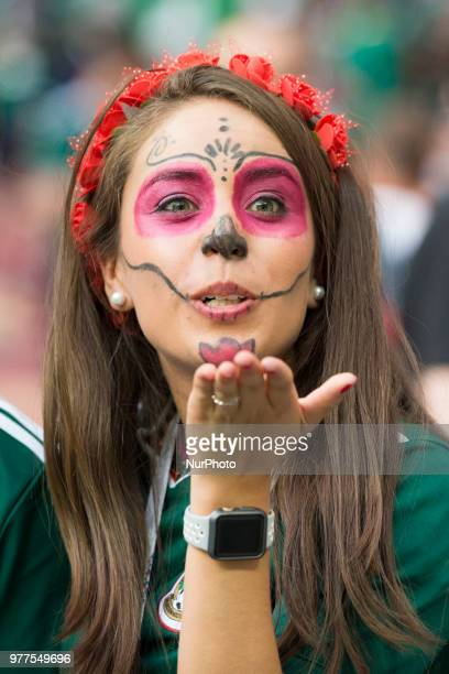 The Mexican fan celebrates during the 2018 FIFA World Cup Russia Group F match between Germany and Mexico at Luzhniki Stadium in Moscow Russia on...