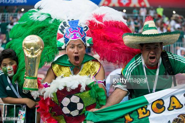 The Mexican fans celebrate during the 2018 FIFA World Cup Russia Group F match between Germany and Mexico at Luzhniki Stadium in Moscow Russia on...