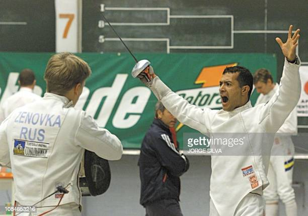 The Mexican fencer Sergio Salazar celbrates his win ahead of Russian Olymic medalist Edoard Zenovka 12 March 2000 in Mexico City Mexico El pentatleta...