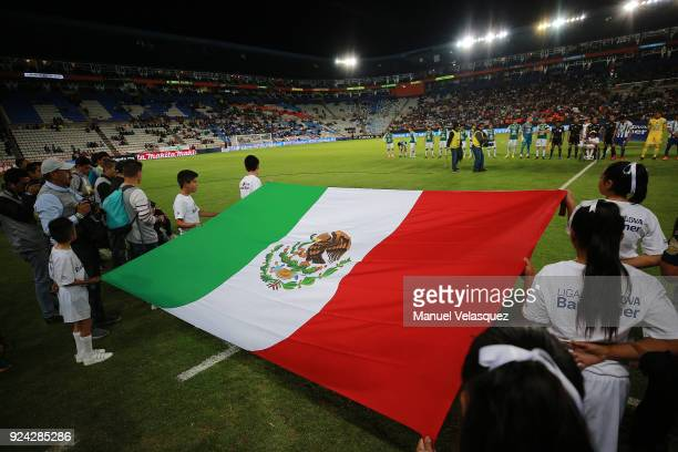 The Mexican flag is displayed prior the 9th round match between Pachuca and Leon as part of the Torneo Clausura 2018 Liga MX at Hidalgo Stadium on...