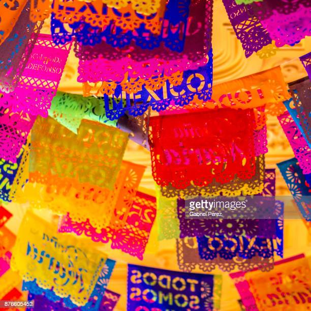 the mexican folk art of papel picado - all souls day stock photos and pictures