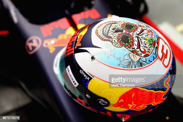 The Mexican helmet of Daniel Ricciardo of Australia and Red Bull Racing in the garage before practice for the Formula One Grand Prix of Mexico at...