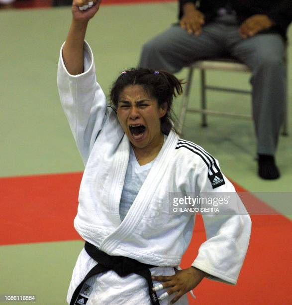 The Mexican Mirian Ruiz celebrates 29 November her victory in the Women's judo competition category 63kg of the XIX Central American and Caribbean...