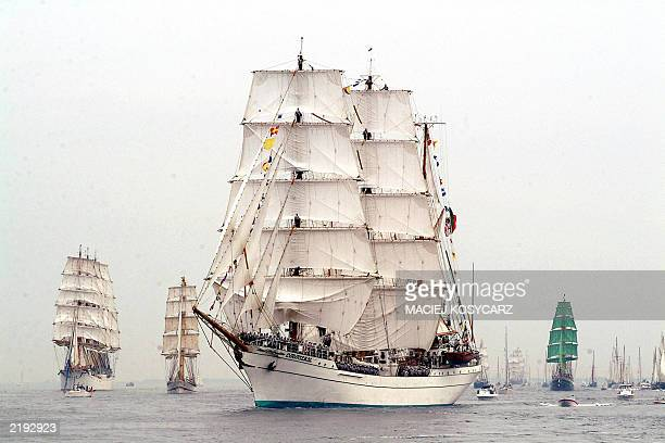 The Mexican ship First ship Cuauhtemoc participates 22 July 2003 in Gdansk Bay in Gdynia northern Poland in the Grand Parade of Tall Ships The...