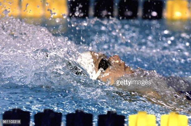 The Mexican swimmer Maristany Amescua competes 26 November 2002 in San Salvador in the 100 meter race during the Central American and Caribbean Games...