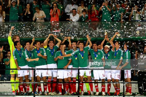 The Mexican team lift the U17 World Cup during the FIFA U17 World Cup Mexico 2011 Final during the FIFA U17 World Cup Mexico 2011 Final match between...