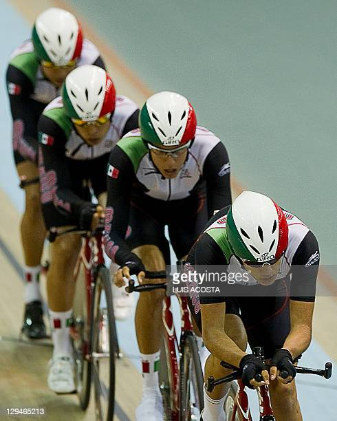 The Mexican team made up by cyclists Juan Aldapa Edibaldo Maldonado Cristin Medina and Diego Yepez competes in the qualifying round of the men's Team...