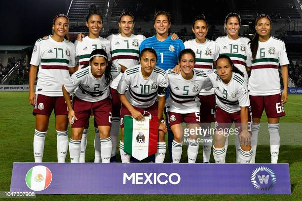 The Mexican Women's National Team poses for a picture before their soccer game against Trinidad and Tobago at WakeMed Soccer Park on October 7 2018...