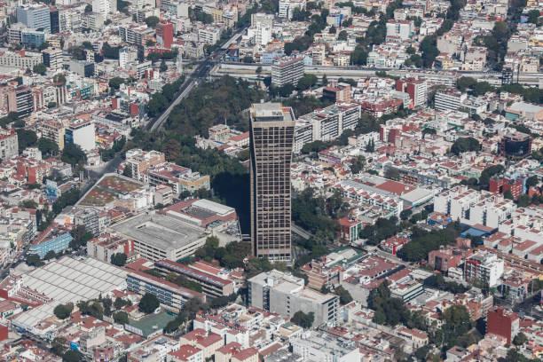 The Mexicana de Aviación (airline) building - Mexico City from the air