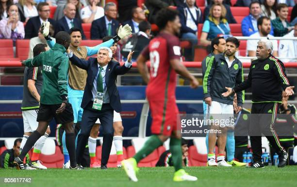 The Mexico bench react during the FIFA Confederations Cup Russia 2017 PlayOff for Third Place between Portugal and Mexico at Spartak Stadium on July...
