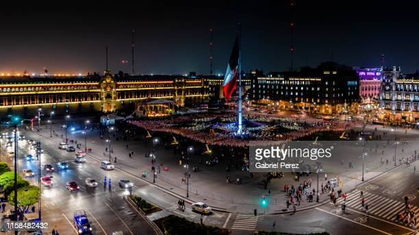 the mexico city zocalo - mexico city skyline stock pictures, royalty-free photos & images