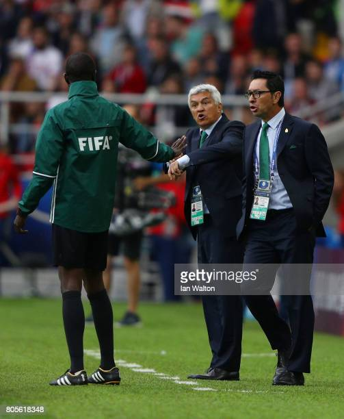 The Mexico coaching team argue with the fourth offical during the FIFA Confederations Cup Russia 2017 PlayOff for Third Place between Portugal and...
