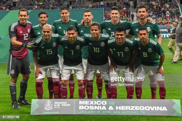 The Mexico National Team lines up for a team photo prior to the soccer match between Mexico and Bosnia Herzegovina on January 31 2018 at the...