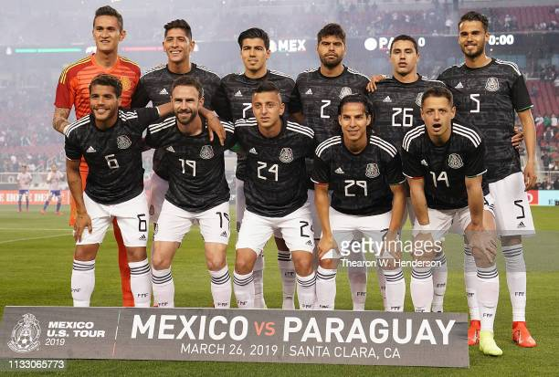 The Mexico National team poses together for this photo prior to the start of their soccer game against Paraguay during the 2019 Mexico US Tour at...