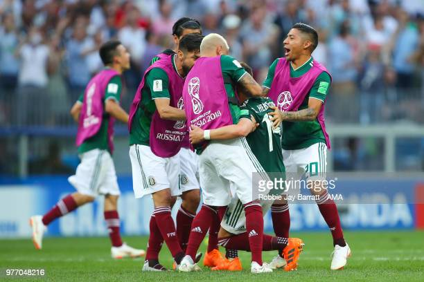 The Mexico players celebrate at the end of the 2018 FIFA World Cup Russia group F match between Germany and Mexico at Luzhniki Stadium on June 17...