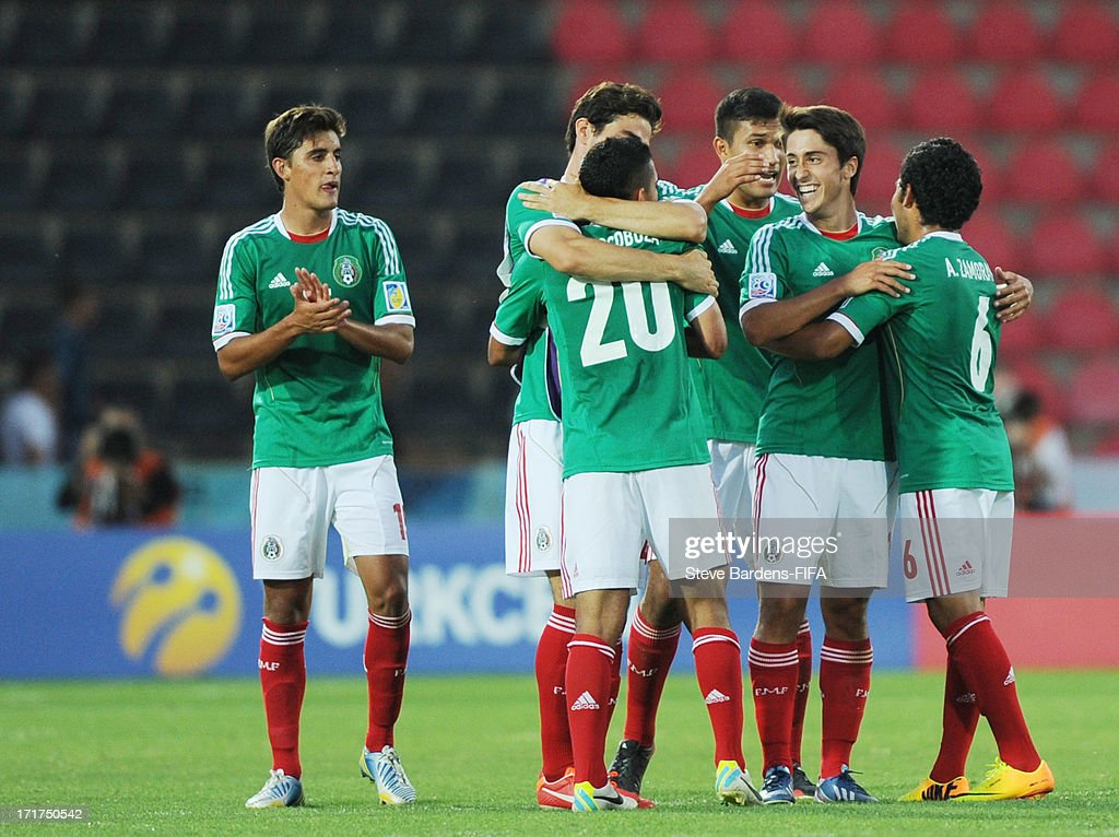 The Mexico players celebrate their 4-1 victory at the final whistle after the FIFA U20 World Cup Group D match between Mali and Mexico at Kamil Ocak Stadium on June 28, 2013 in Gaziantep, Turkey.