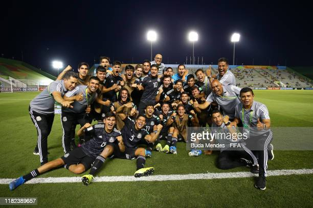 The Mexico players celebrate victory during a penalty shootout during the FIFA U-17 World Cup Brazil 2019 semi-final match between Mexico and the...