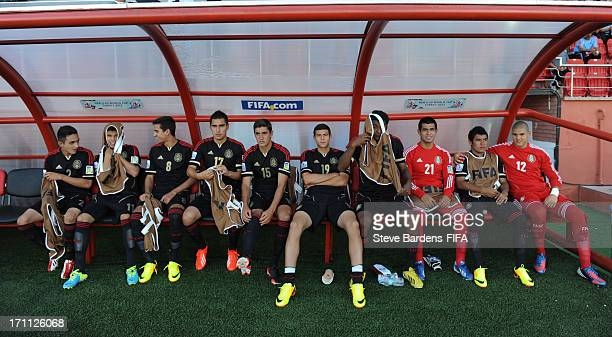 The Mexico substitutes before the FIFA U20 World Cup Group D match between Mexico and Greece at Kamil Ocak Stadium on June 22 2013 in Gaziantep Turkey