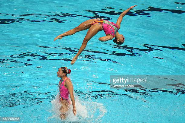 The Mexico team competes in the Women's Team Free Synchronised Swimming Preliminary on day four of the 16th FINA World Championships at the Kazan...
