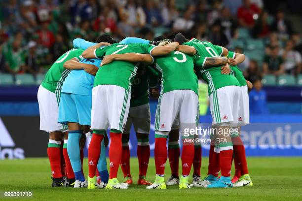 The Mexico team create a huddle prior to the FIFA Confederations Cup Russia 2017 Group A match between Mexico and New Zealand at Fisht Olympic...
