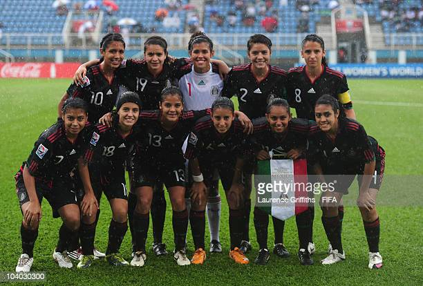 The Mexico Team during the FIFA U17 Women's World Cup Group B match between Mexico and South Africa at the Ato Boldon Stadium on September 12 2010 in...